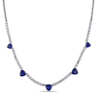 Miadora Signature Collection Trilliant-cut Sapphire and 1-5/8ct TDW Diamond Station Necklace in 18k White Gold (G-H, SI1-SI2)