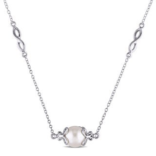 Miadora 9-9.5mm Freshwater Cultured Pearl Infinity Station Necklace in Sterling Silver - White