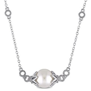 Miadora 9-9.5mm Freshwater Cultured Pearl Circle Station Necklace in Sterling Silver