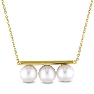 Miadora 8-8.5mm Freshwater Cultured Pearl Bar Necklace in Yellow Plated Sterling Silver