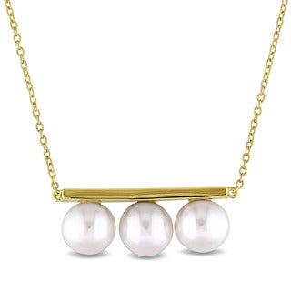 Miadora 8-8.5mm Freshwater Cultured Pearl Bar Necklace in Yellow Plated Sterling Silver - White