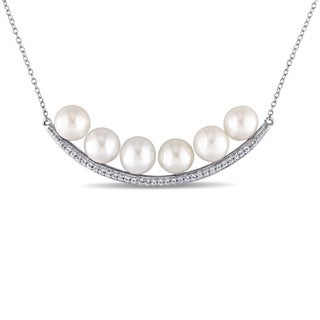 Miadora 8-8.5mm Freshwater Cultured Pearl and White Topaz Bar Necklace in Sterling Silver