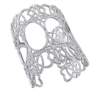 Miadora Signature Collection White Sapphire Open-Bangle in Sterling Silver