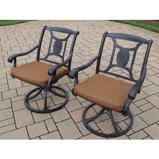 Cast Aluminum Swivel Rockers with Fade and Mildew Resistant Sunbrella Cushions (Set of 2)