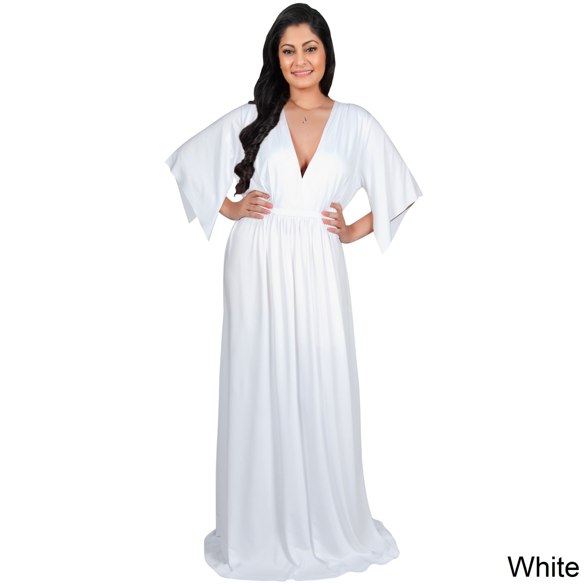 45d25ed6 Shop Adelyn and Vivian Women's Plus-size Short Split-sleeve Empire-waist  V-neck Long Maxi Dress - Free Shipping Today - Overstock - 12873003