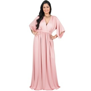 Adelyn and Vivian Women's Plus-size Short Split-sleeve Empire-waist V-neck Long Maxi Dress