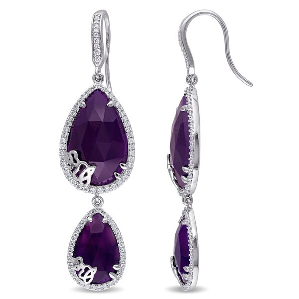 Miadora Signature Collection Pear-Cut Purple Chalcedony and 4/5ct TDW Diamond Tiered Earrings in Sterling Silver (G-H, SI1-SI2). Opens flyout.