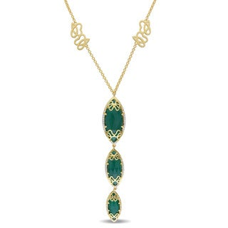Miadora Signature Collection Green Onyx and 3/8ct TDW Diamond Journey Necklace in Yellow Plated Sterling Silver (G-H, SI1-SI2)