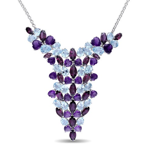 Miadora Signature Collection Sky Blue Topaz Amethyst-Africa Rhodolite-Garnet Mosaic Cluster Dangle Necklace in Sterling Silver