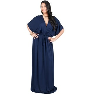 Adelyn & Vivian Women's Plus-size Long V-neck Short-sleeve Kimono-style Maxi Dress/Casual Gown