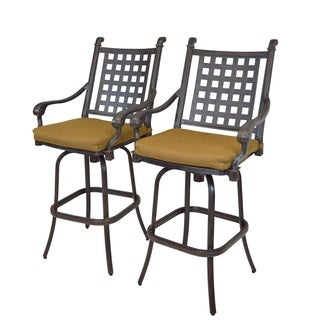 Oakland Living Corporation Sunbrella Antique Black Aluminum Swivel Barstools With Sunbrella Cushions (Set of 2)