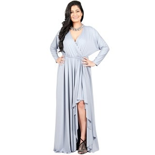 Adelyn & Vivian Women's Plus-size Long Sleeve Winter Formal Gown Crossover Sexy Maxi Dress