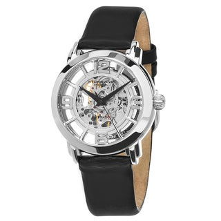 Stuhrling Original Women's Automatic Skeleton Legacy Black Leather Strap Watch