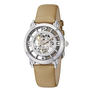 Stuhrling Original Women's Automatic Skeleton Legacy Leather Strap Watch (3 options available)