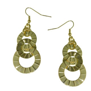 Isla Simone - 18 Karat Gold Plate Interlinked Textured Disc Drop Earrings