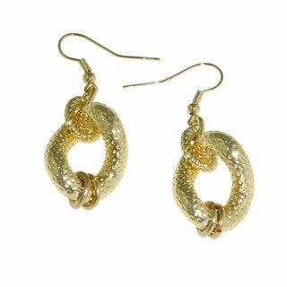 Isla Simone - 18 Karat Gold Plated Twisted Textured Drop Earring
