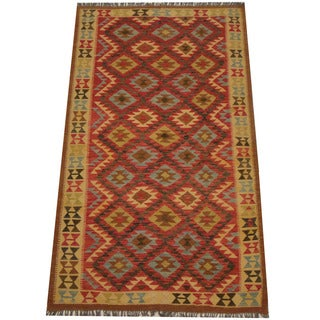 Herat Oriental Afghan Hand-woven Tribal Wool Kilim (4'9 x 8'3)