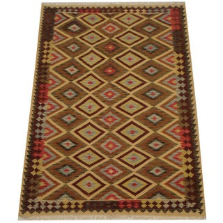 Herat Oriental Afghan Hand-woven Tribal Wool Kilim (5'8 x 8')