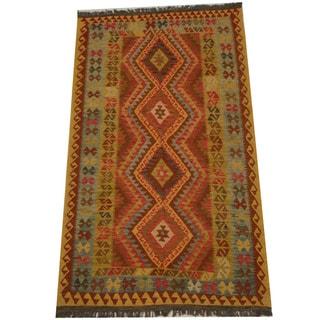 Herat Oriental Afghan Hand-woven Tribal Wool Kilim (4'8 x 8'2)