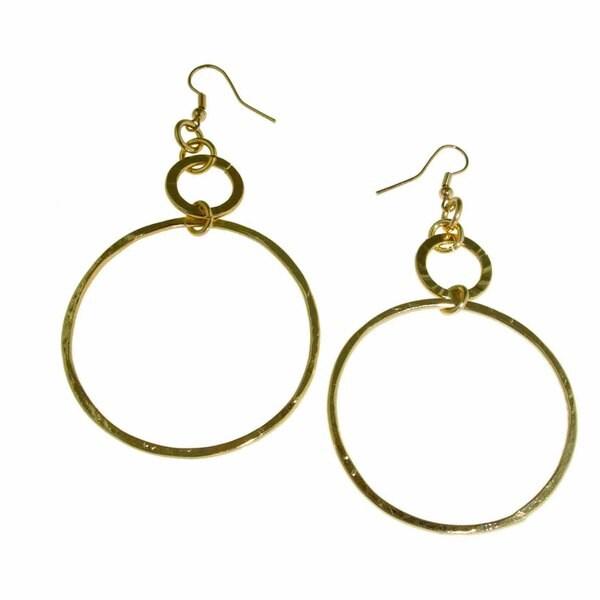 Isla Simone - Gold-Plated Extra Large Diamond Cut Drop Earring