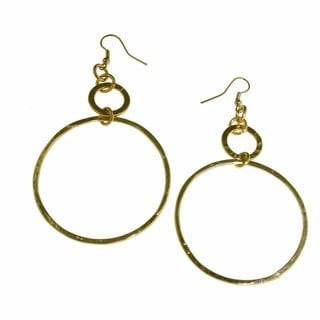 Isla Simone - 18 Karat Gold Plated Extra Large Diamond Cut Drop Earring