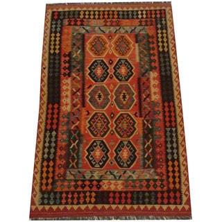Herat Oriental Afghan Hand-woven Tribal Wool Kilim (5'3 x 8'4)
