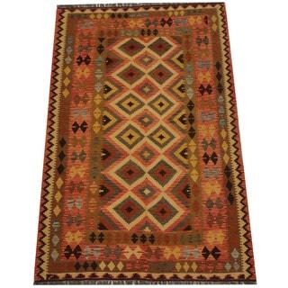 Herat Oriental Afghan Hand-woven Tribal Wool Kilim (5'4 x 8'2)