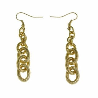 Isla Simone - 18 Karat Gold Plated Corrugated Drop Link Dangle Earring