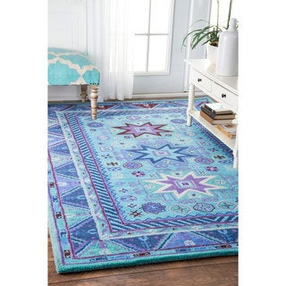 nuLOOM Handmade Overdyed Tribal Wool Blue Rug  (7'6 x 9'6)