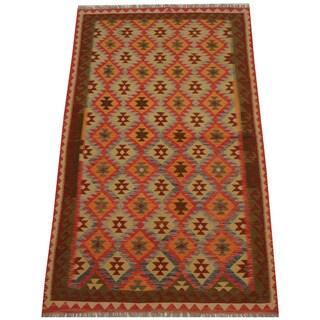 Handmade One-of-a-Kind Wool Kilim (Afghanistan) - 5' x 8'2