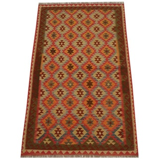 Herat Oriental Afghan Hand-woven Tribal Wool Kilim (5' x 8'2)