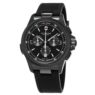 Swiss Army Men's V241731 'Night Vision' Black Dial Black Rubber Strap Swiss Quartz Watch