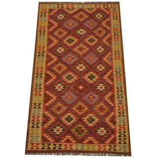 Herat Oriental Afghan Hand-woven Tribal Wool Kilim (4'8 x 8'3)