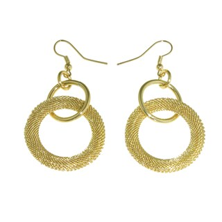 Isla Simone - 18 Karat Gold Plated Diamond Cut Hoop Drop Earring