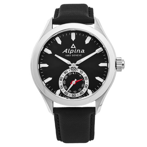 Alpina Men's 'Smart Watch' Black Dial Black Leather Strap Multifunction Motionx Swiss Quartz Watch