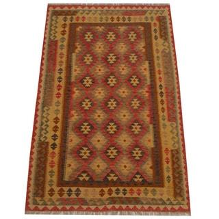 Herat Oriental Afghan Hand-woven Tribal Wool Kilim (5'3 x 8'2)