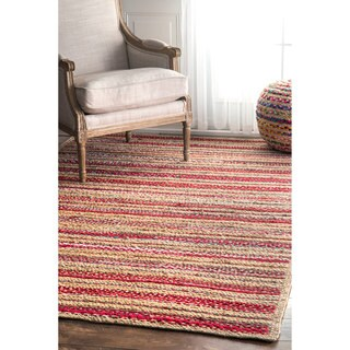 nuLOOM Handmade Flatweave Braided Striped Red Rug (5' x 8')