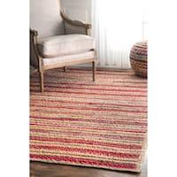 nuLOOM Handmade Flatweave Braided Striped Red Rug (5' x 8') - 5' x 8'