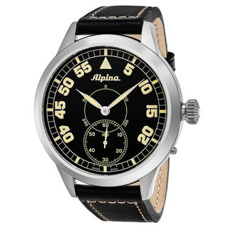Alpina Men's 'PilotHeritage' Black Dial Black Leather Strap Swiss Automatic Watch