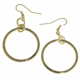Isla Simone - Gold-Plated Wide Large Hoop Drop Earrings