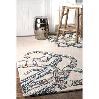 nuLOOM Handmade Rainbow Octopus Faux Silk/ Wool Rug (7'6 x 9'6)