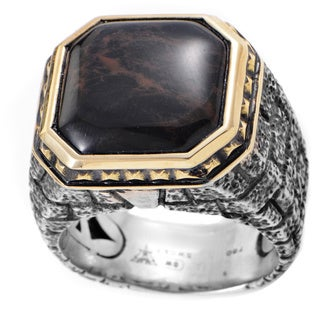 Stephen Webster Brickwork Silver and 18k Yellow Gold Spiderman Jasper Ring