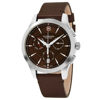 Swiss Army Men's V241749 'Alliance' Brown Dial Brown Leather Strap Chronograph Swiss Quartz Watch