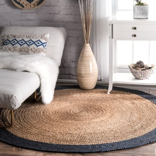 nuLOOM Alexa Eco Natural Fiber Braided Reversible Border Jute Round Rug (6' Round)