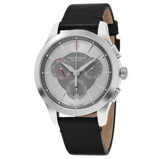 Swiss Army Men's V241748 'Alliance' Grey Dial Black Leather Strap Chronograph Swiss Quartz Watch