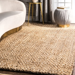 nuLOOM Handmade Eco Natural Fiber Jute Diamond Natural Rug (6' x 9')