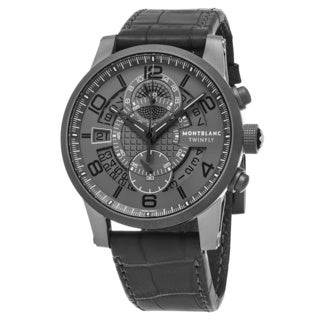 Mont Blanc Men's 107338 'Timewalker' Grey Dial Grey Leather Strap TWINFLY Chronograph Swiss Automatic Watch