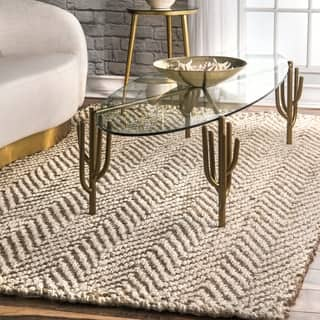nuLOOM Handmade Eco Natural Fiber Jute Chevron Ivory Rug  6 x Rugs Area For Less Overstock com