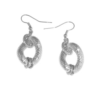 Isla Simone - Sterling Silver And White Bronze Plated Twisted Textured Drop Earring