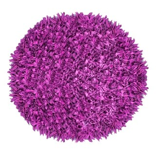 Purple Cotton Hand-knotted Round Shag Accent Rug